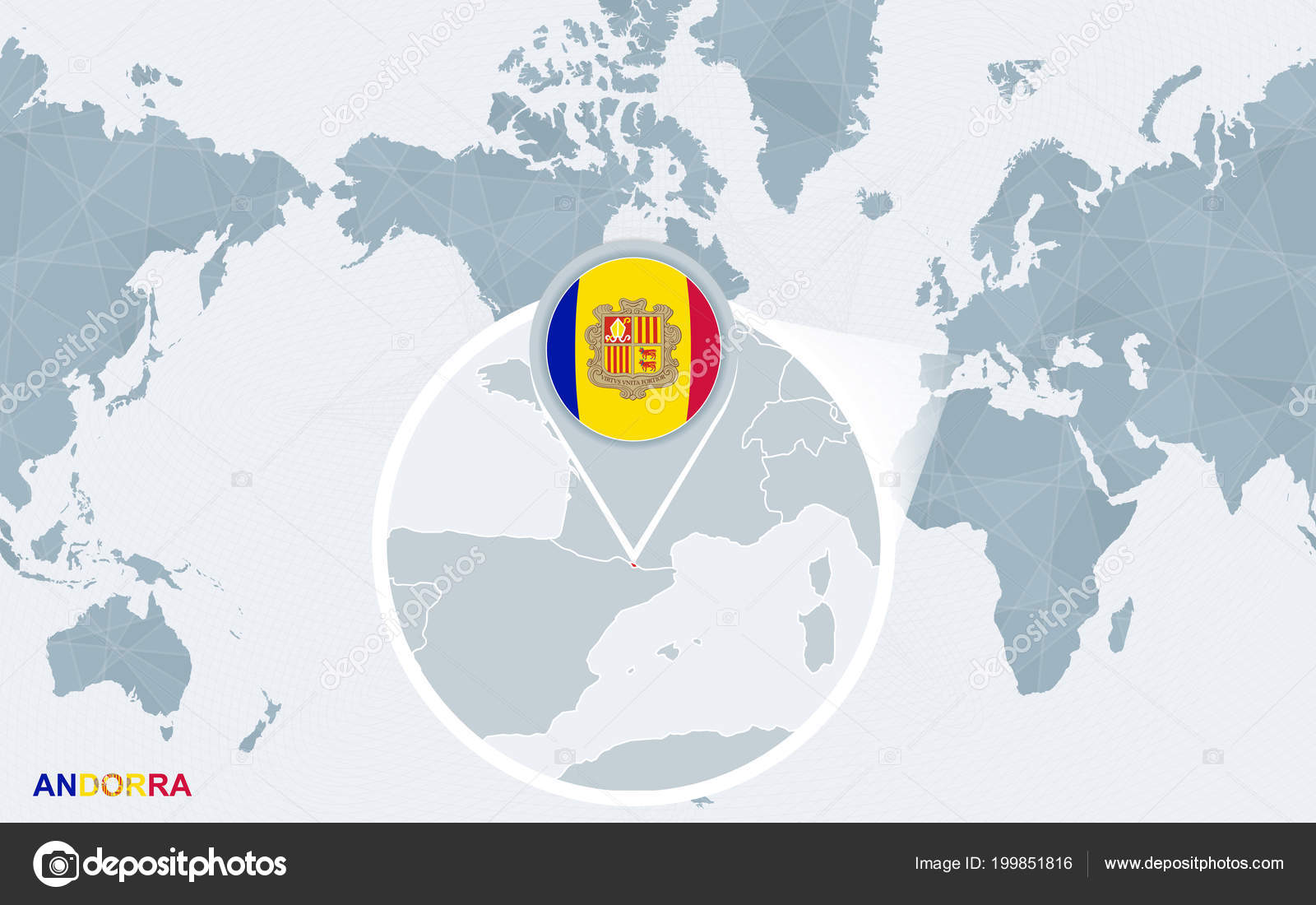 World Map Centered America Magnified Andorra Blue Flag Map Andorra