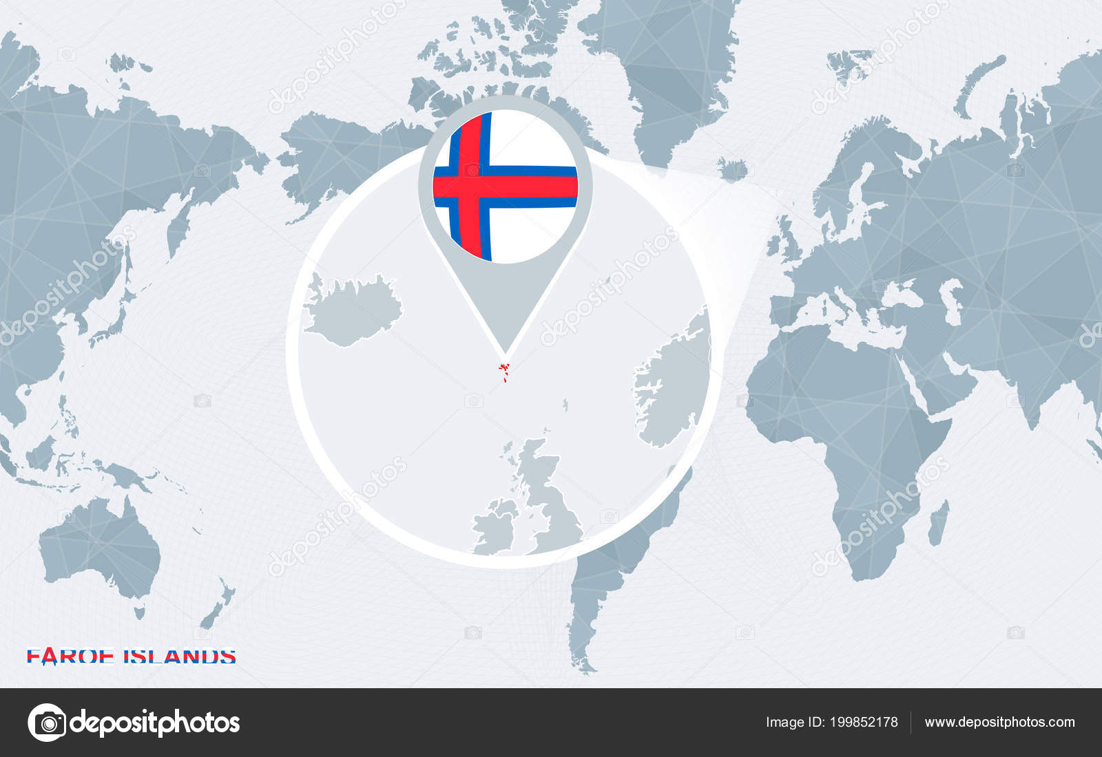 World Map Centered On America With Magnified Faroe Islands