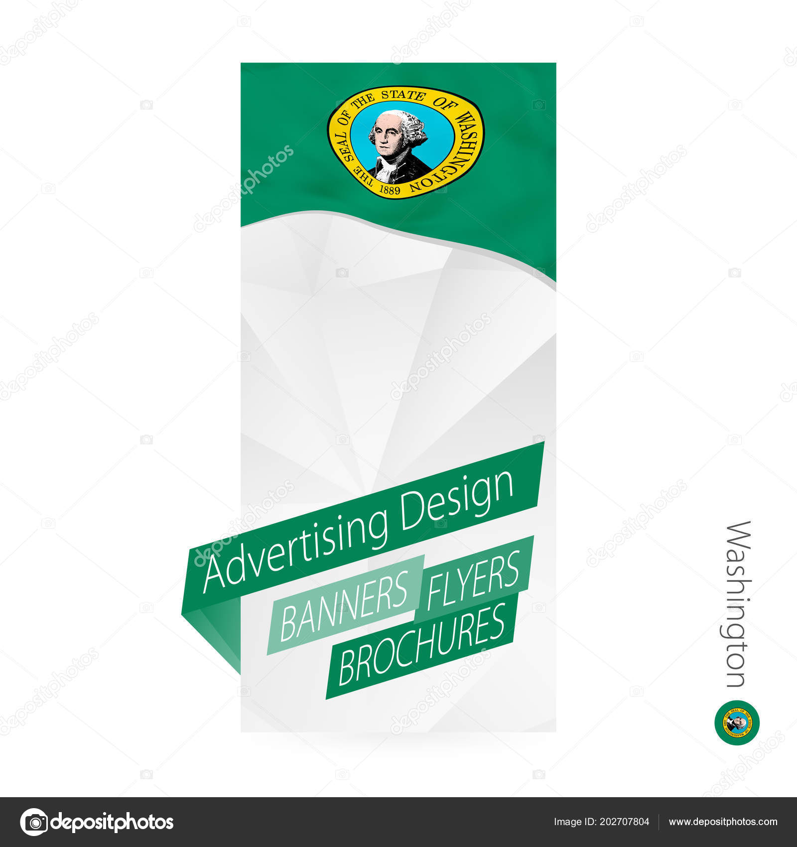 vector abstract banner template state washington advertising