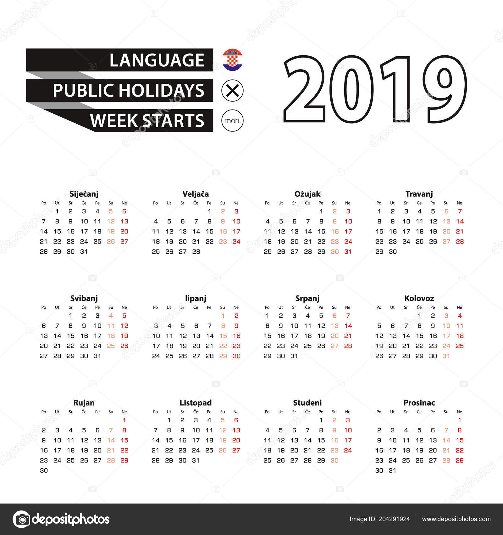 calendar 2019 in croatian language week starts on monday vector calendar 2019 year vector by boldg
