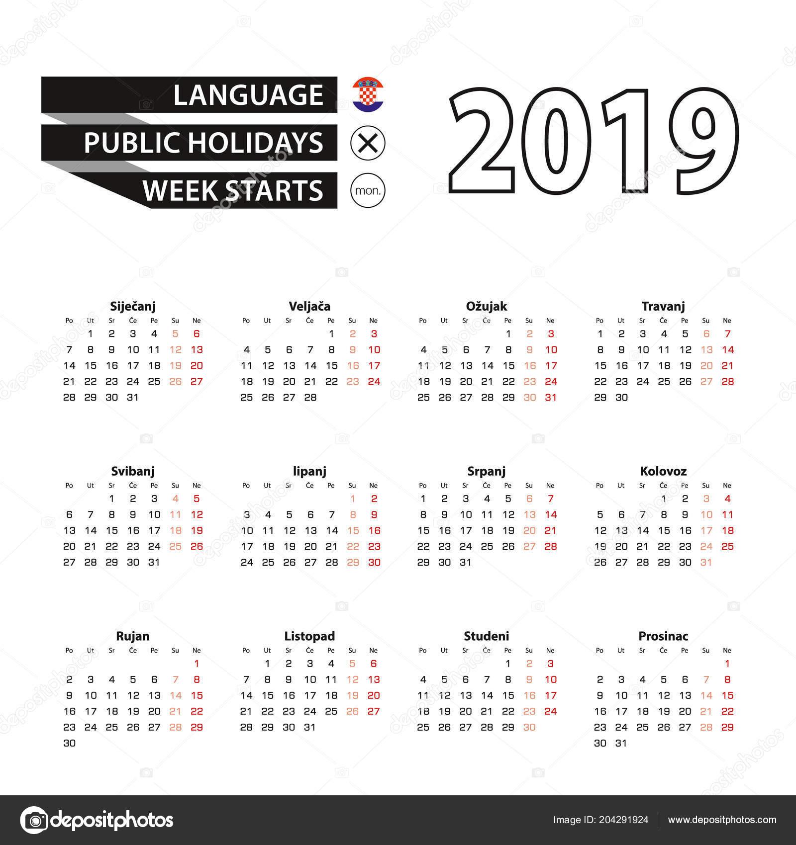 calendar 2019 in croatian language week starts on monday vector calendar 2019 year vector by boldg