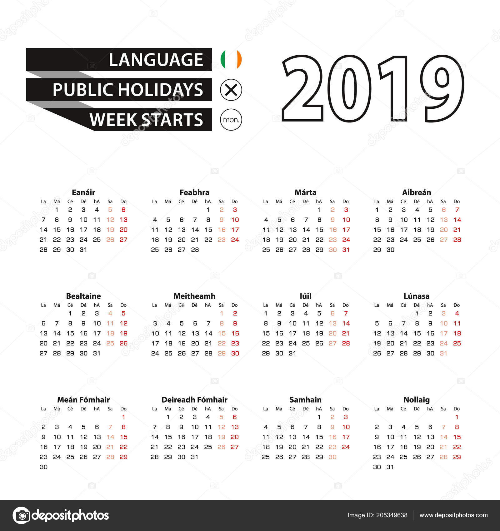 calendar 2019 in irish language week starts on monday vector calendar 2019 year vector by boldg