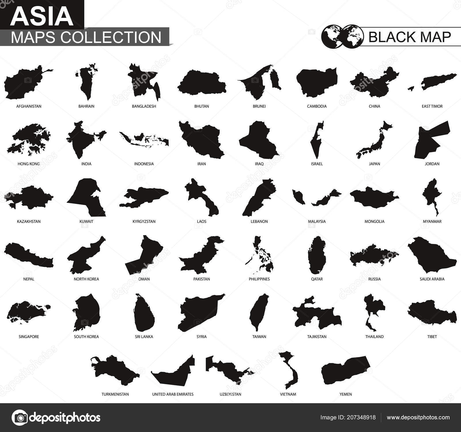 Maps Collection Countries Asia Black Contour Maps Asia Vector Set ...