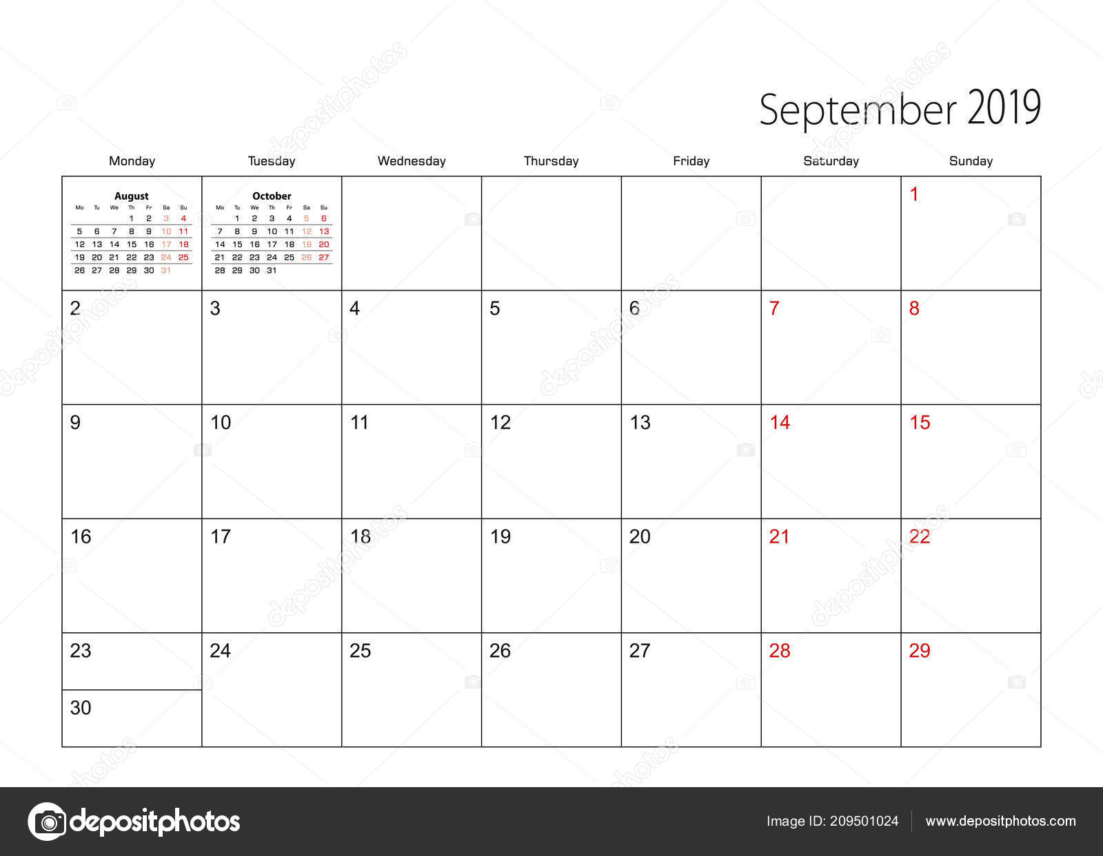 Calendar Planner September 2019.September 2019 Simple Calendar Planner Week Starts Monday Stock