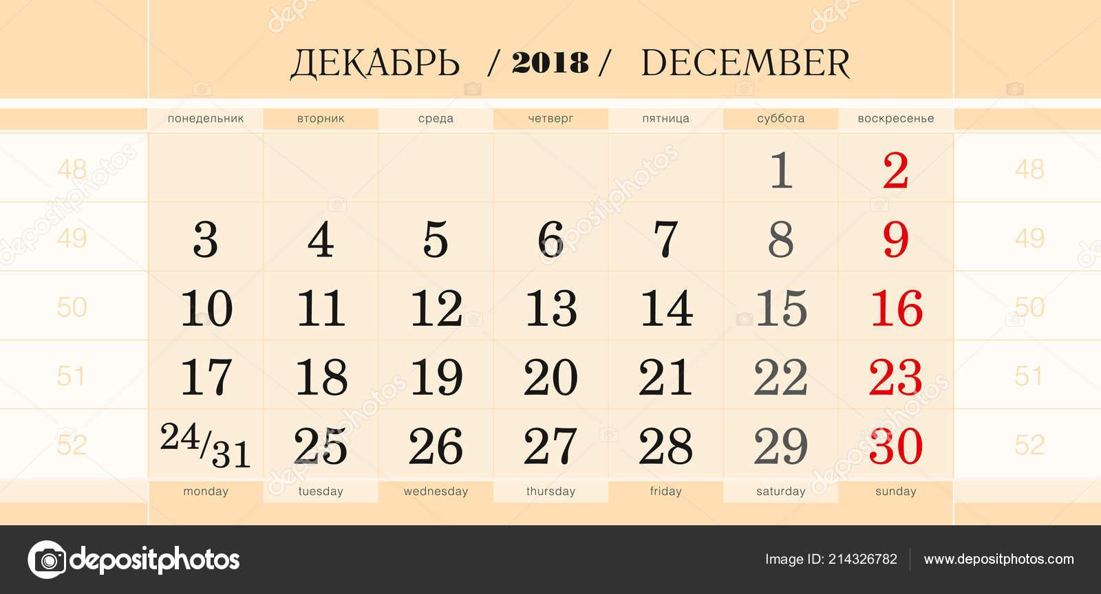 calendar quarterly block 2019 year december 2018 wall calendar english stock vector