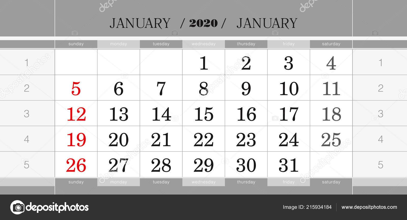 Calendario Trimestrale 2020.Gennaio 2020 Blocco Ogni Trimestre Calendario Calendario
