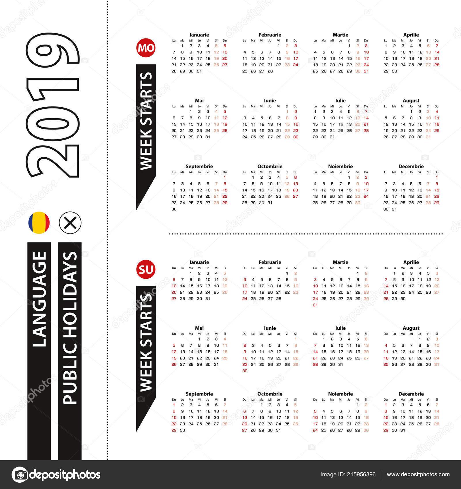 Calendario Rumeno.Due Versioni Del Calendario 2019 Rumeno Settimana Inizia Dal