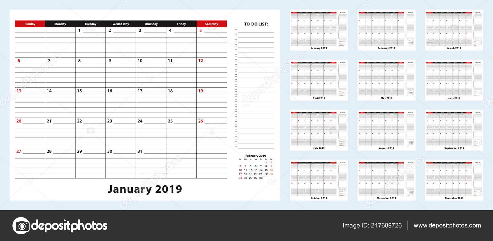Calendario Mese Dicembre 2019.Reception Pad Calendario Mensile Gennaio 2019 Dicembre 2019