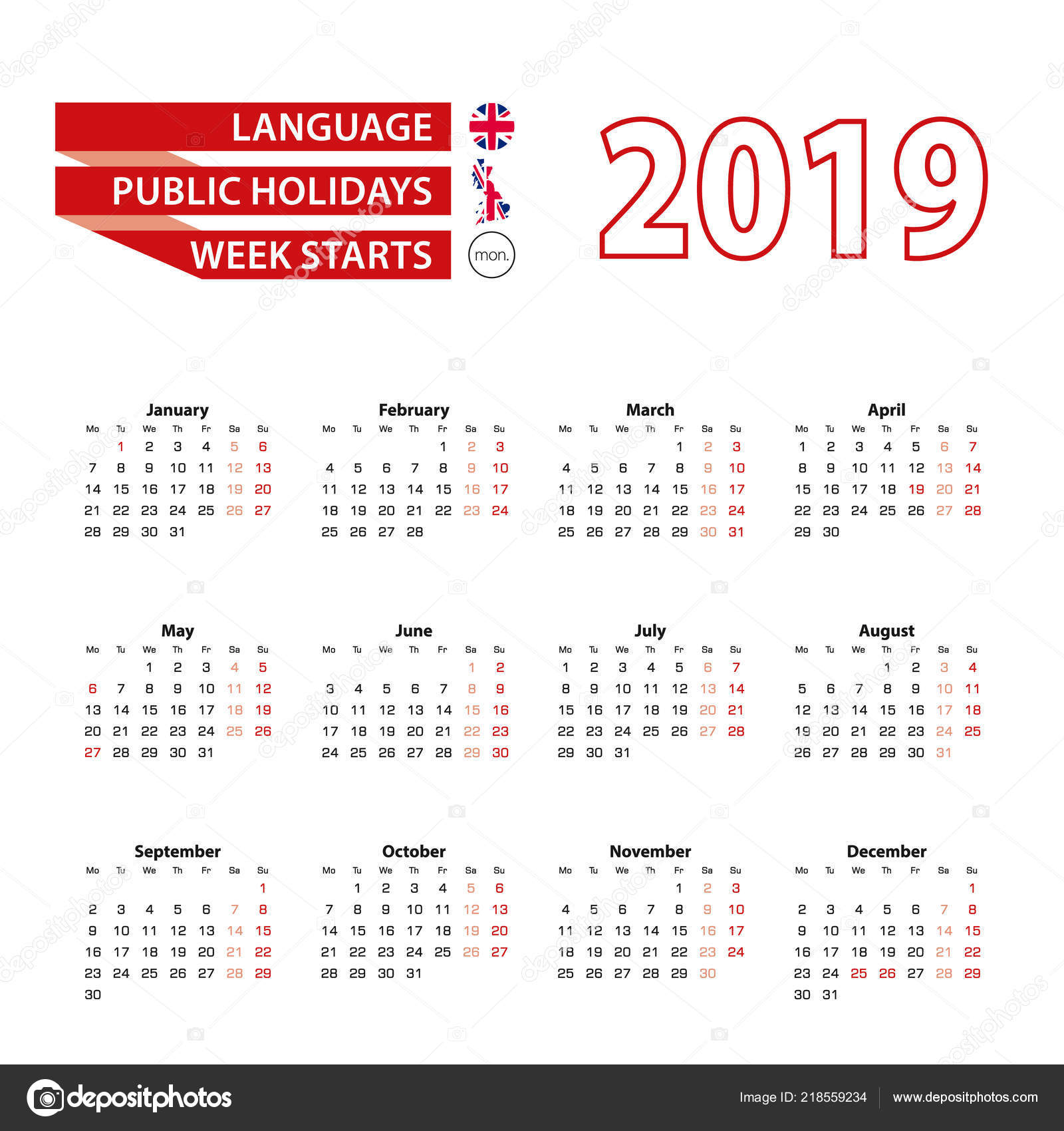 Calendario 2019 English.Calendar 2019 English Language Public Holidays United