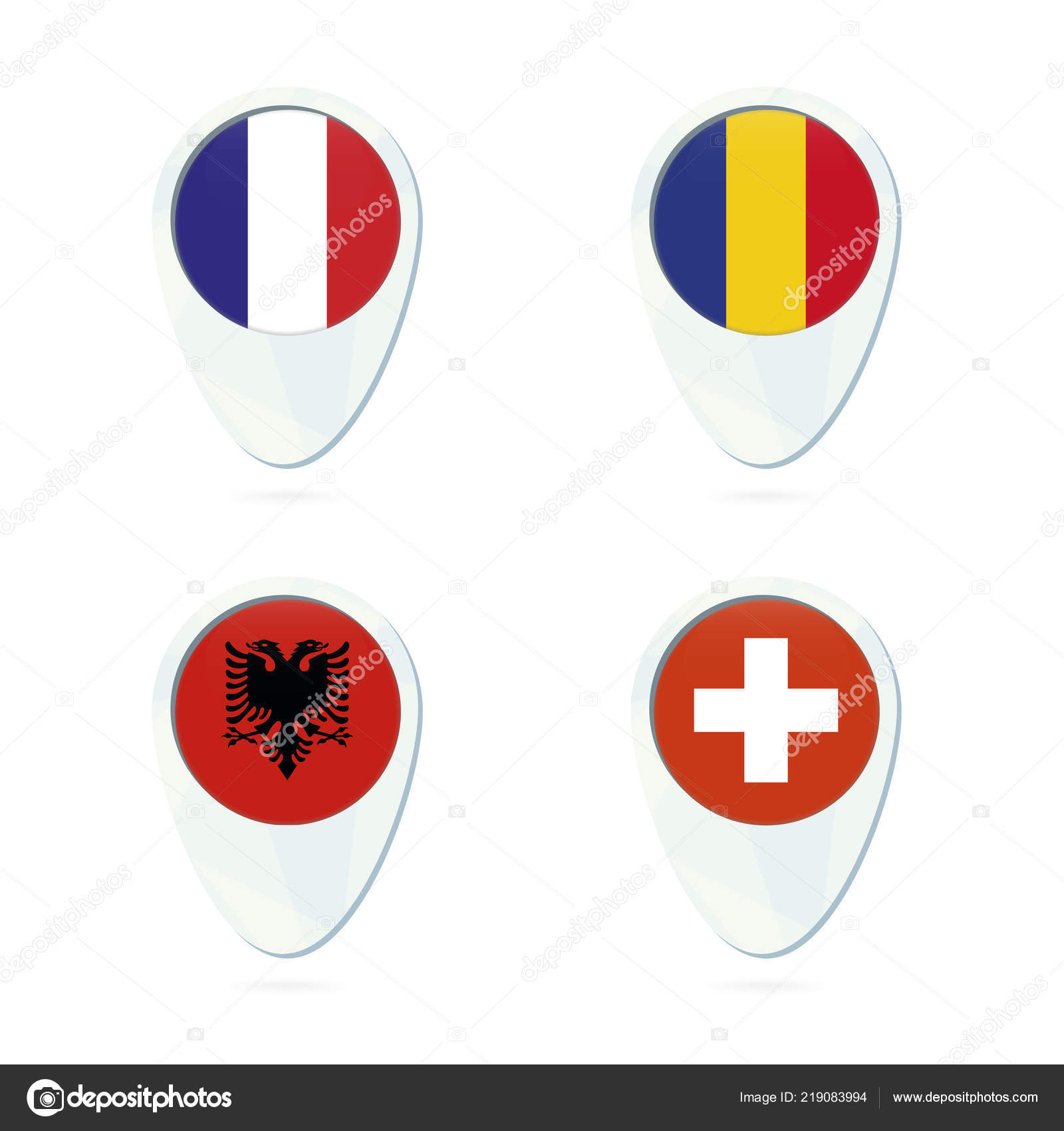 France Romania Albania Switzerland Flag Location Map Pin Icon France ...