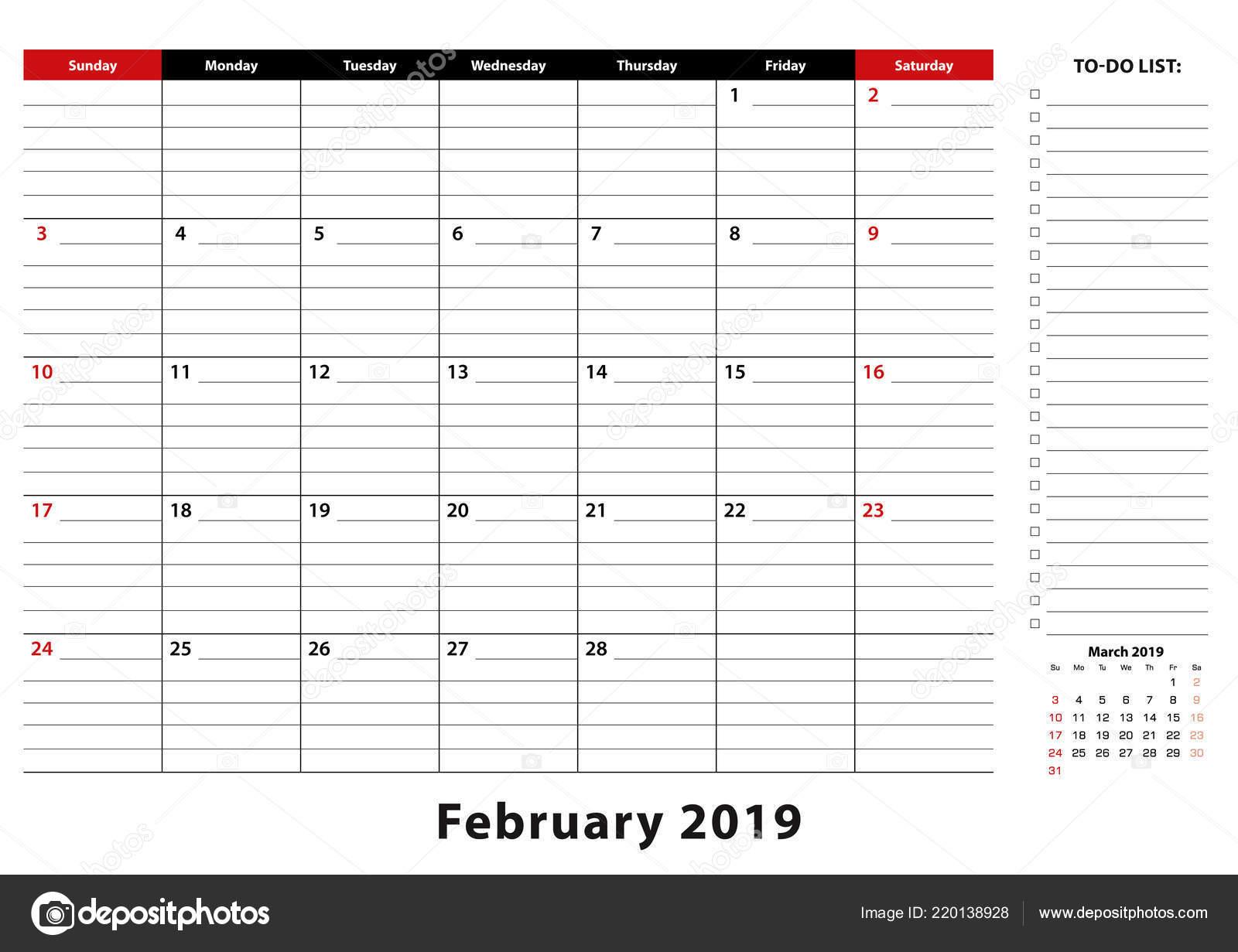 Febrero 2019 Calendario.Febrero 2019 Semana Calendario Mensual Almohadilla Mesa Comienza