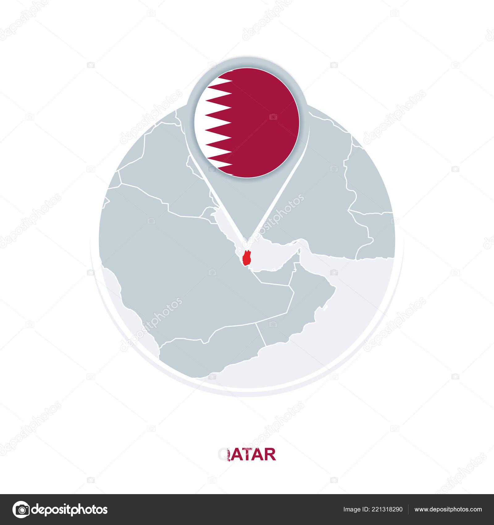 Qatar Map Flag Vector Map Icon Highlighted Qatar — Stock ...