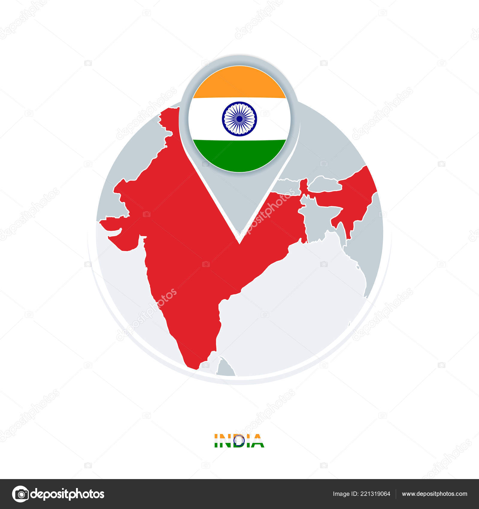 India Map Flag.India Map Flag Vector Map Icon Highlighted India Stock Vector