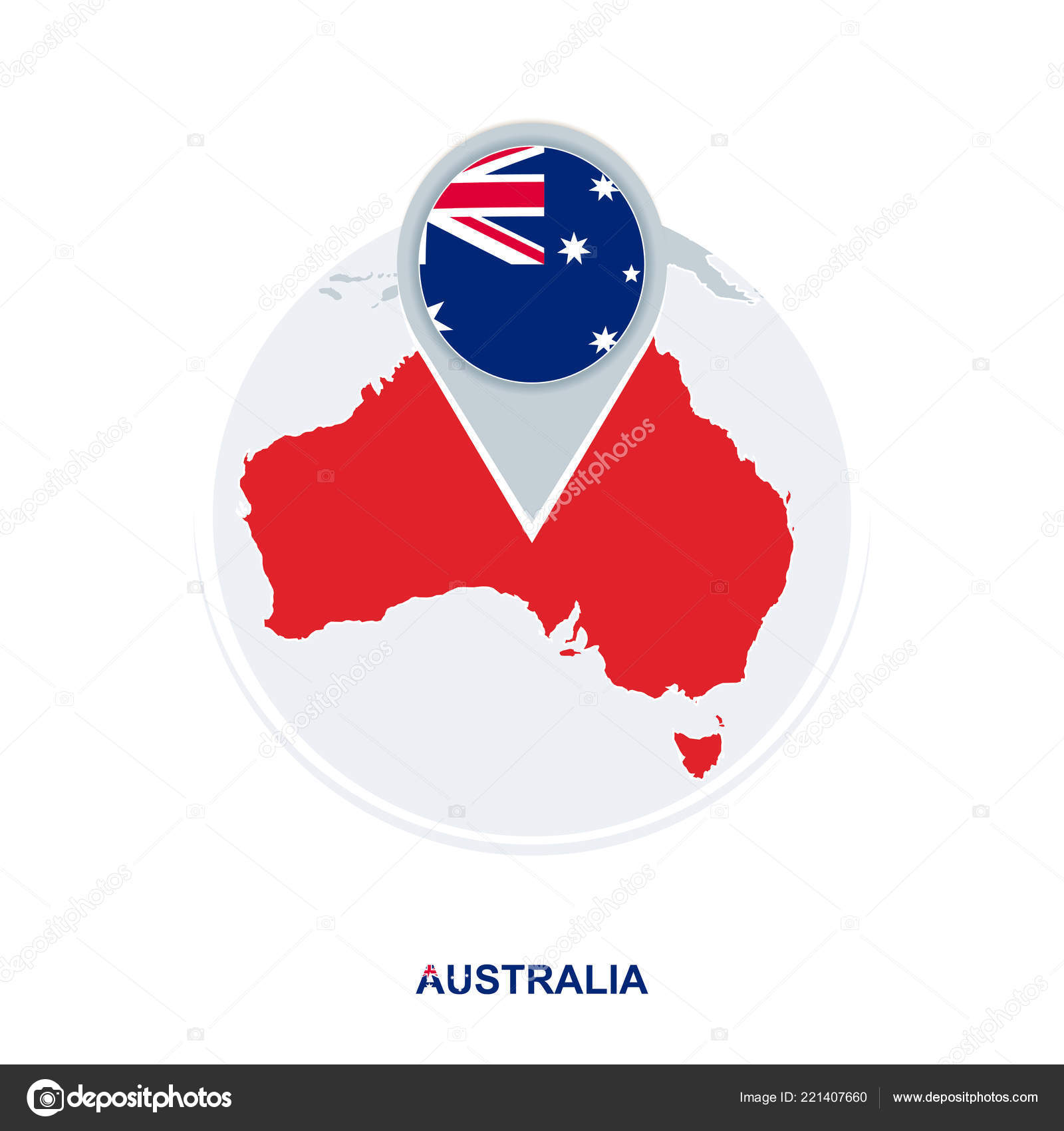 Australia Map With Flag.Australia Map Flag Vector Map Icon Highlighted Australia Stock