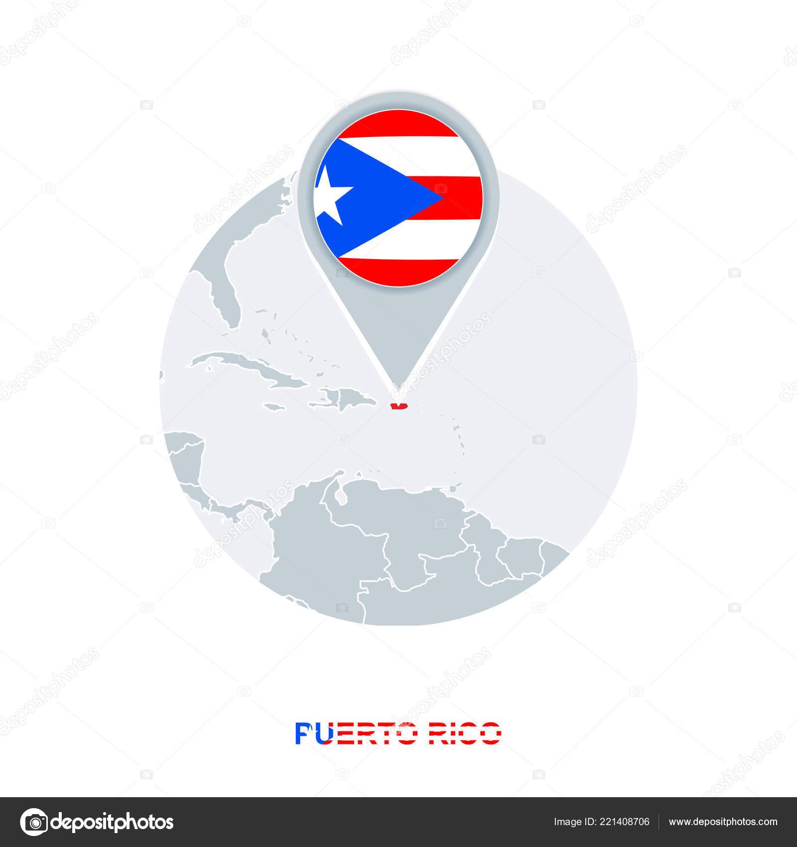 Puerto Rico Map Flag Vector Map Icon Highlighted Puerto Rico Stock