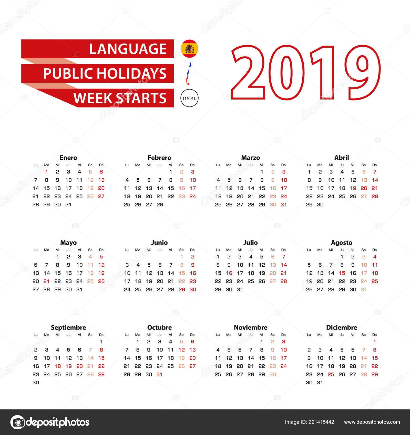 Calendario Chile 2019 Con Feriados.Calendar 2019 In Spanish Language With Public Holidays The