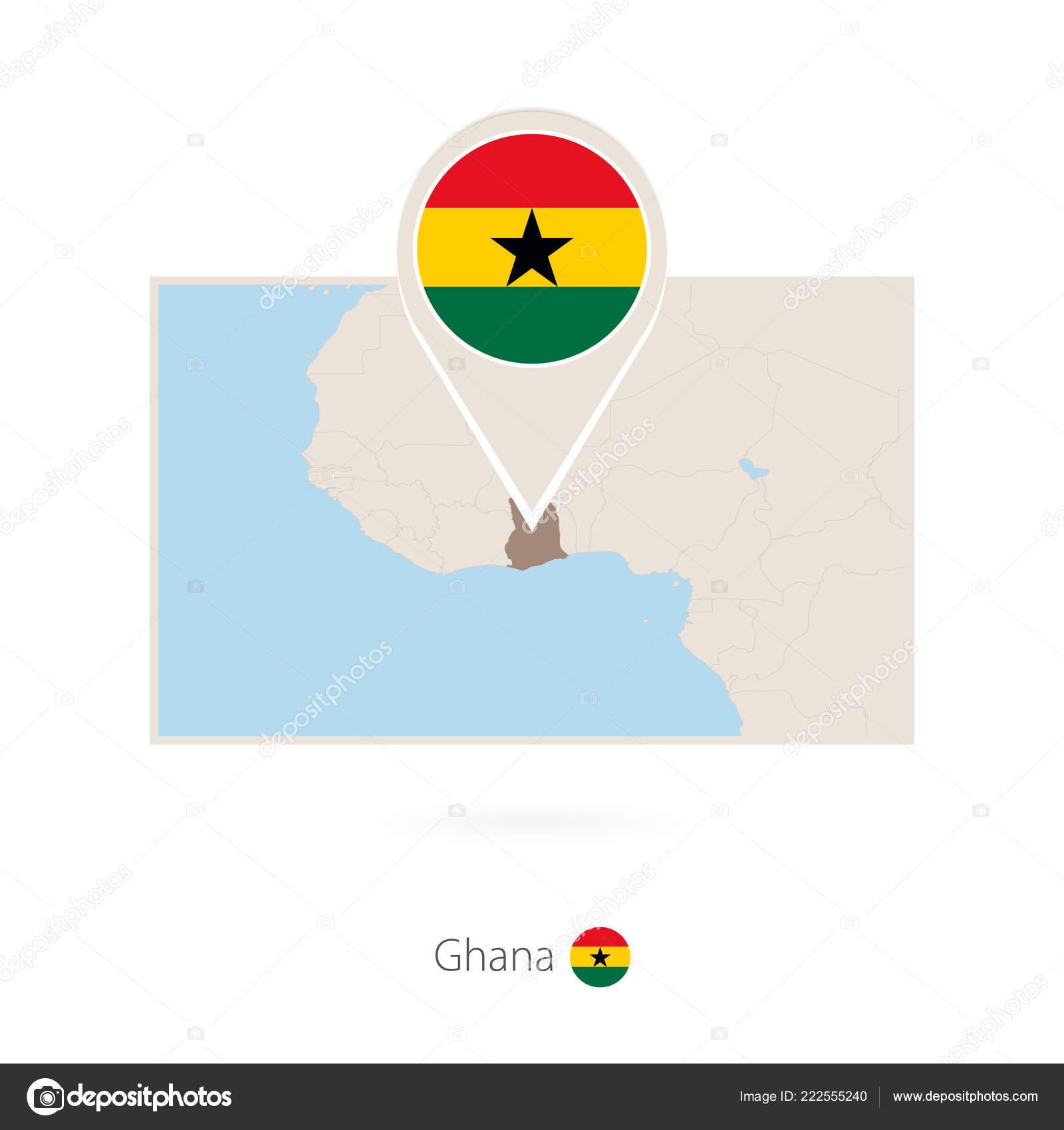 Rectangular Map Ghana Pin Icon Ghana — Stock Vector © boldg #222555240
