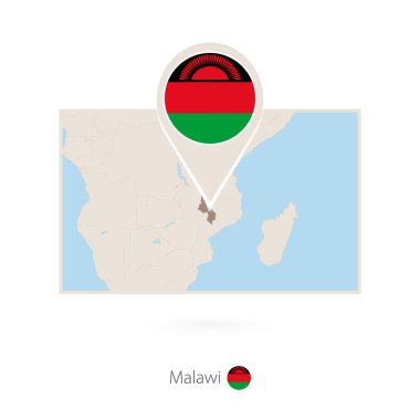 Rectangular map of Malawi with pin icon of Malawi