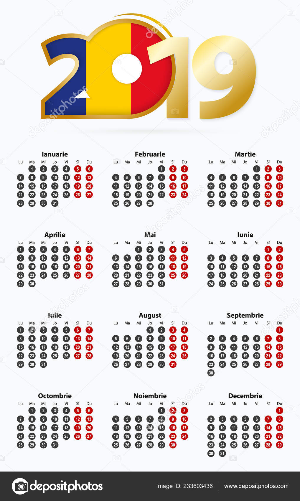 Calendario Rumeno.Calendario Vettore Modello 2019 Con Numero Nei Circoli