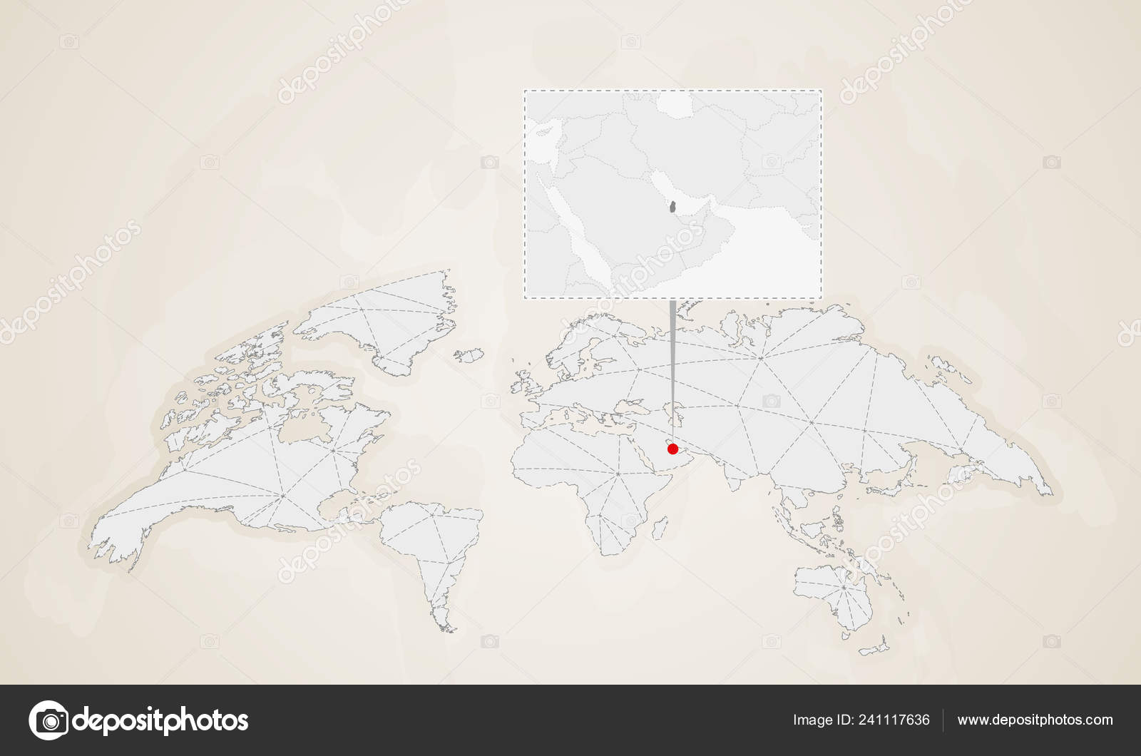 Map Qatar Neighbor Countries Pinned World Map Abstract ...