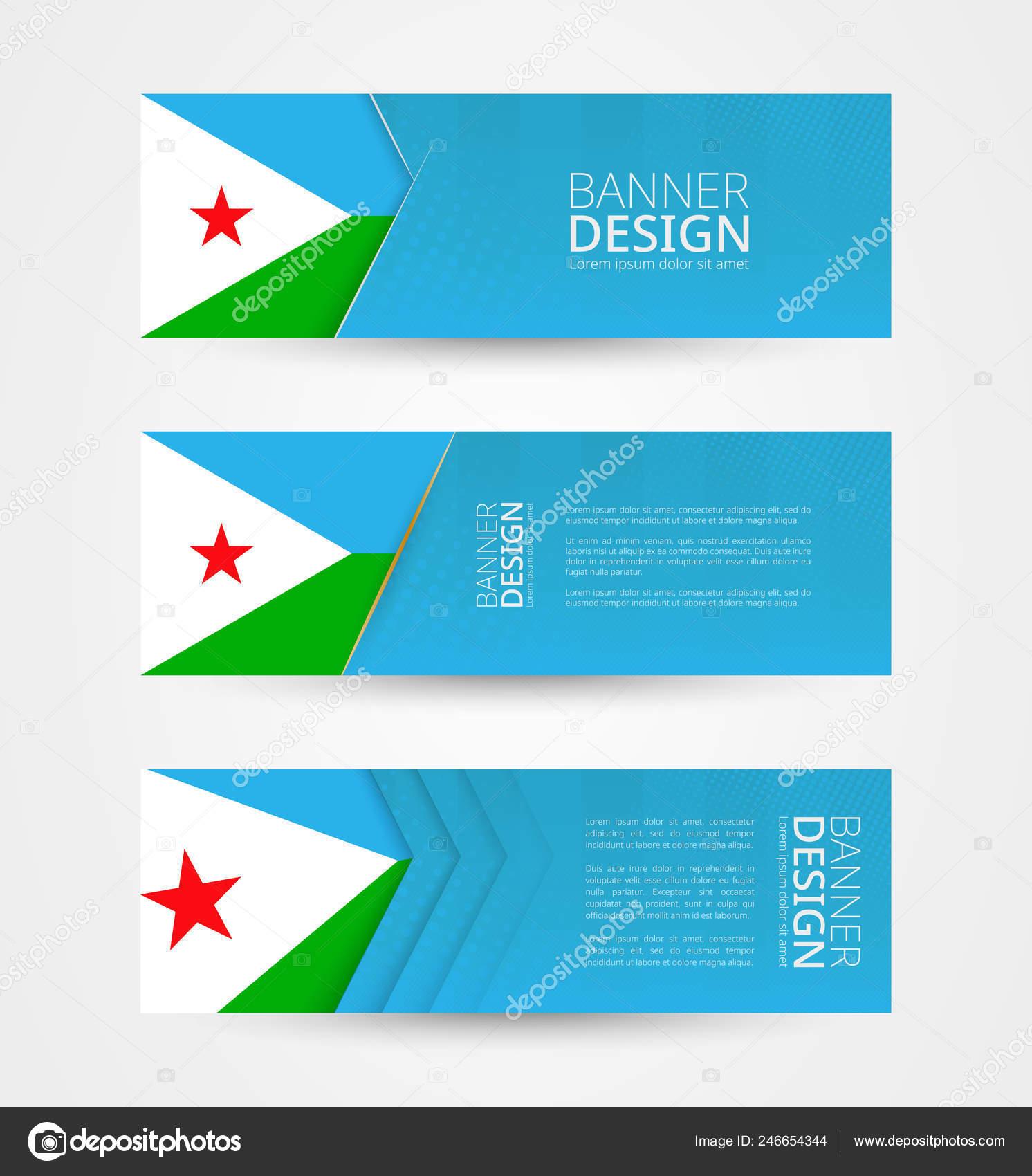 Set Three Horizontal Banners Flag Djibouti Web Banner Design