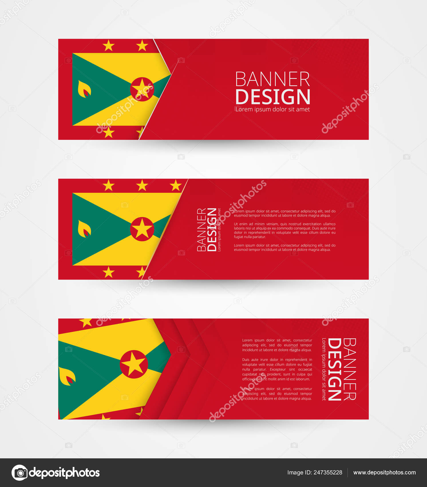 Set Three Horizontal Banners Flag Jamaica Web Banner Design Template