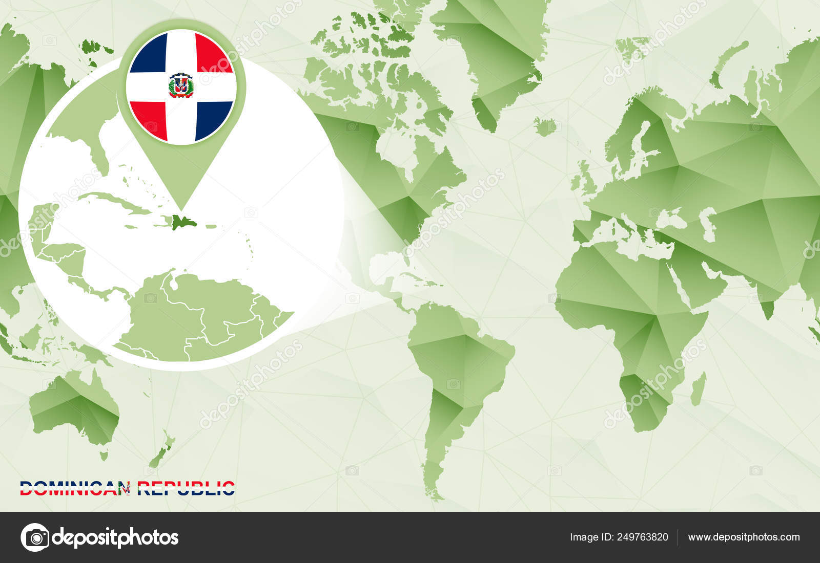 America centric world map with magnified Dominican Republic ...