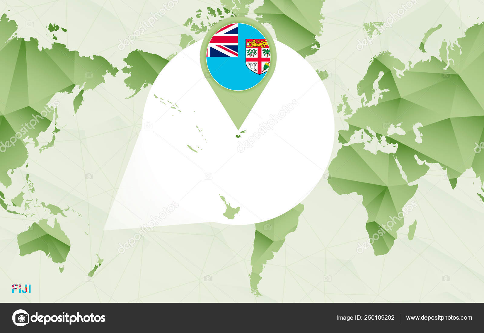 America Centric World Map With Magnified Fiji Map Vector