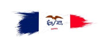 Flag of Iowa US State in grunge brush.