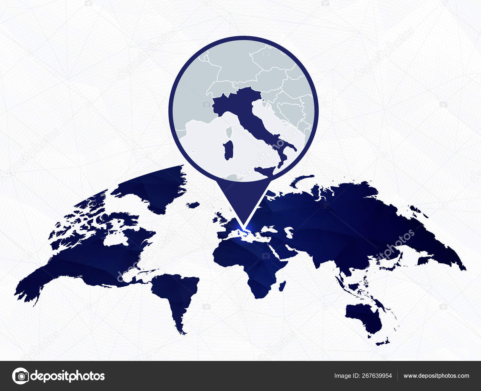 Italy detailed map highlighted on blue rounded World Map ...