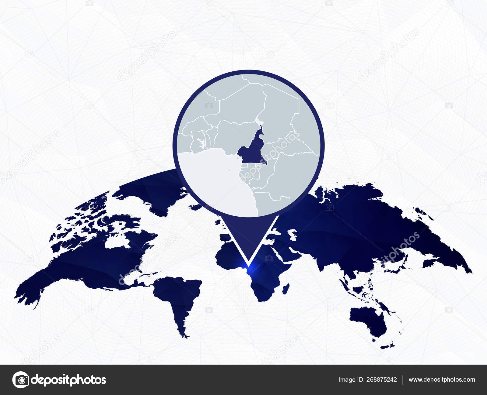 Cameroon detailed map highlighted on blue rounded World Map ...