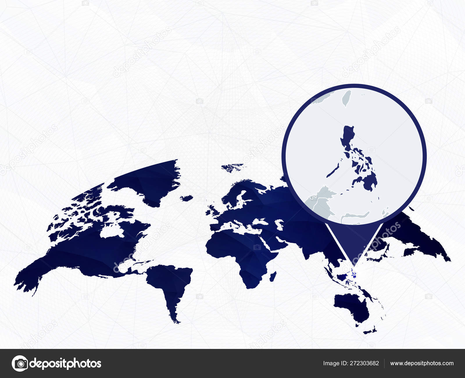 Philippines detailed map highlighted on blue rounded World Map ... on map showing philippines, map of philippines in imperialism, map of philippines in asia, map of bohol island philippines, map of morocco and surrounding countries, map of philippines on world map,