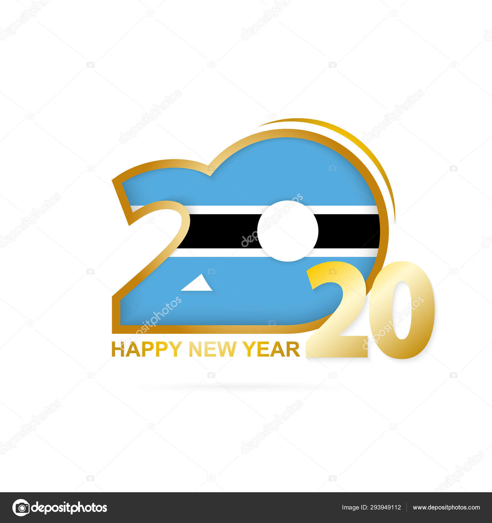 Year 2020 with Botswana Flag pattern  Happy New Year Design  — Stock
