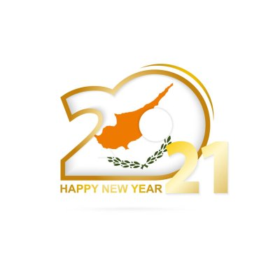 Year 2021 with Cyprus Flag pattern. Happy New Year Design. Vector Illustration.