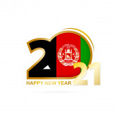 Fotografie Year 2021 with Afghanistan Flag pattern. Happy New Year Design. Vector Illustration.