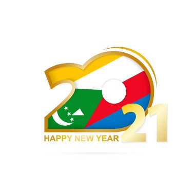 Year 2021 with Comoros Flag pattern. Happy New Year Design. Vector Illustration.