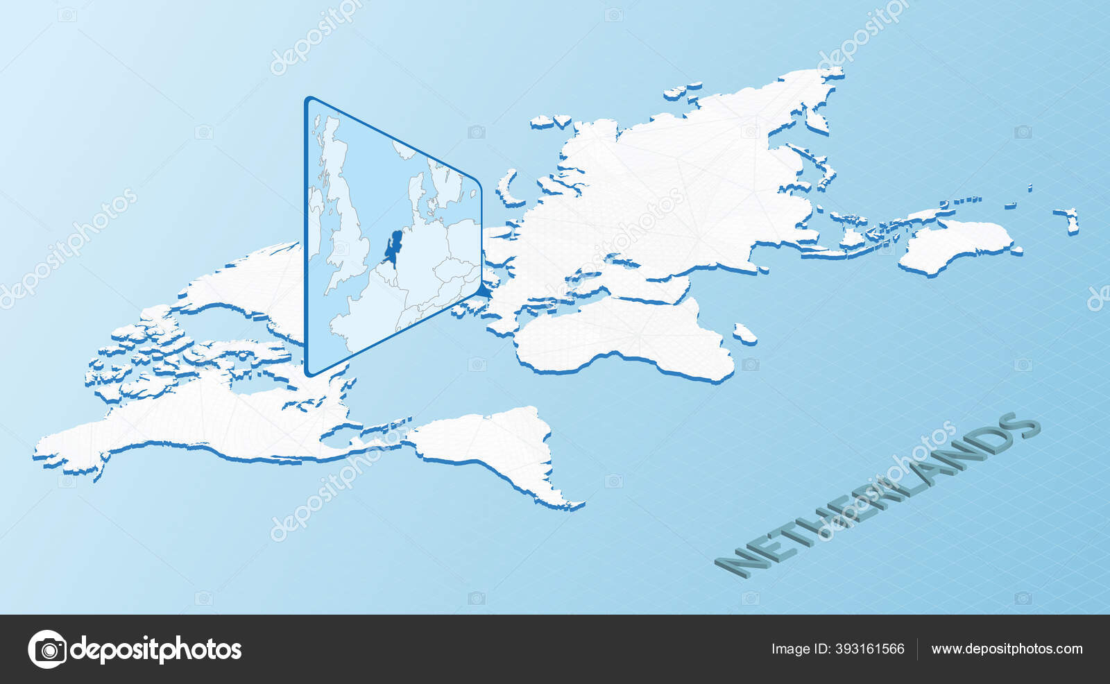 Image of: World Map Isometric Style Detailed Map Netherlands Light Blue Netherlands Stock Vector C Boldg 393161566