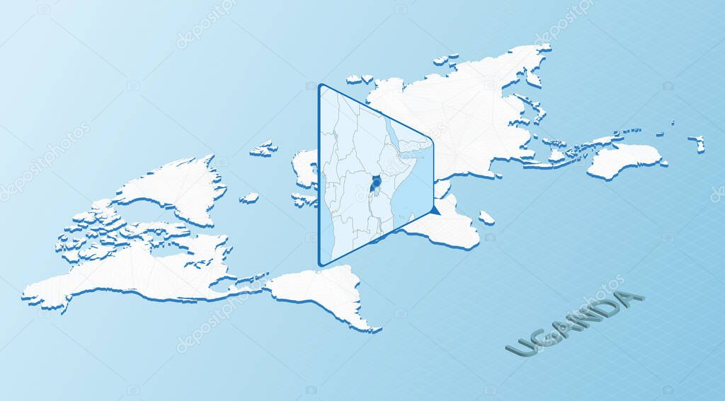 World Map In Isometric Style With Detailed Map Of Uganda Light Blue Uganda Map With Abstract World Map Premium Vector In Adobe Illustrator Ai Ai Format Encapsulated Postscript Eps Eps Format