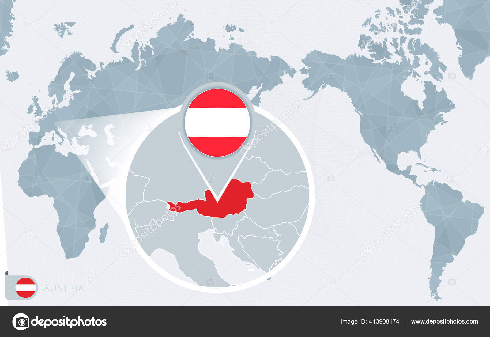 Image of: Pacific Centered World Map Magnified Austria Ingles Bandera Mapa Austria Archivo Imagenes Vectoriales C Boldg 413908174