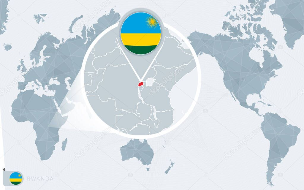 Image of: Pacific Centered World Map With Magnified Rwanda Flag And Map Of Rwanda Premium Vector In Adobe Illustrator Ai Ai Format Encapsulated Postscript Eps Eps Format