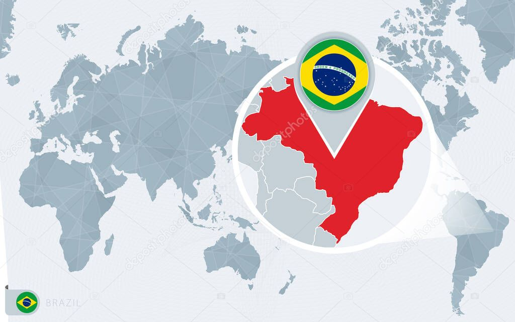 Image of: Pacific Centered World Map With Magnified Brazil Flag And Map Of Brazil Premium Vector In Adobe Illustrator Ai Ai Format Encapsulated Postscript Eps Eps Format