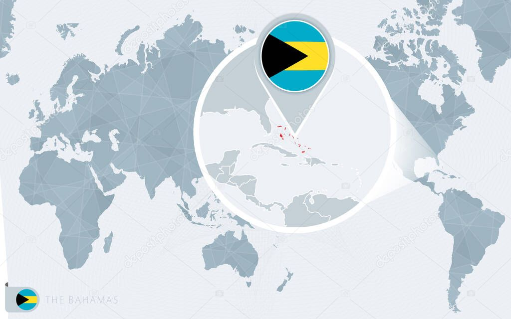 Pacific Centered World Map With Magnified The Bahamas Flag And Map Of The Bahamas Premium Vector In Adobe Illustrator Ai Ai Format Encapsulated Postscript Eps Eps Format