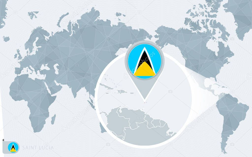 Image of: Pacific Centered World Map With Magnified Saint Lucia Flag And Map Of Saint Lucia Premium Vector In Adobe Illustrator Ai Ai Format Encapsulated Postscript Eps Eps Format