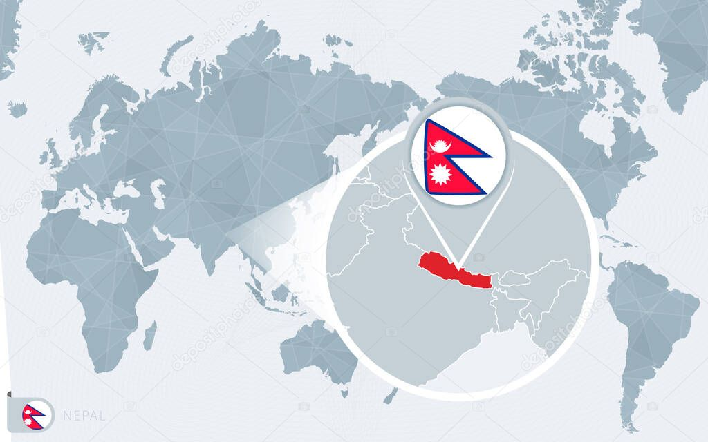 Image of: Pacific Centered World Map With Magnified Nepal Flag And Map Of Nepal Premium Vector In Adobe Illustrator Ai Ai Format Encapsulated Postscript Eps Eps Format