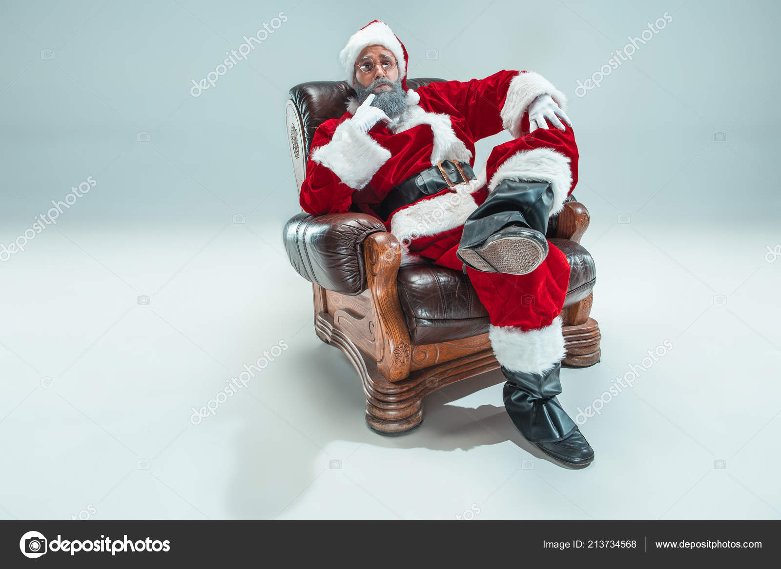 Funny guy in christmas hat. New Year Holiday. Christmas, x-mas ...