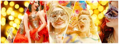 Beautiful young women in carnival mask