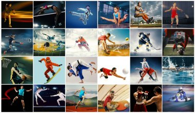 Creative collage made with different kinds of sport