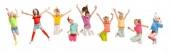 Csoport általános iskolás gyerekek jumping, vissza az iskolába
