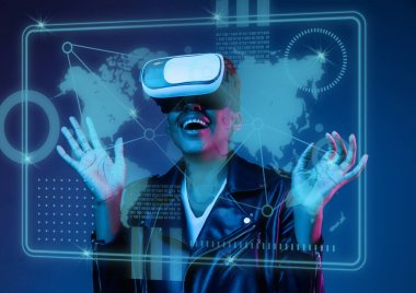 Touch of virtual reality. Young african-american womans playing in VR-glasses in neon light on blue background. Concept of human emotions, facial expression, modern gadgets and technologies. stock vector