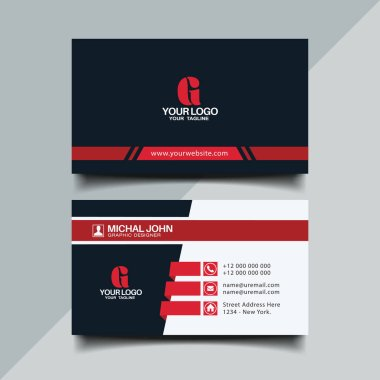 Red color business card design